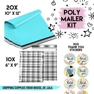 Poly mailer shipping kit teal with stickers